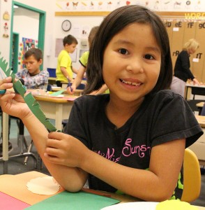 Nevaeh Paulette works on a wreath made of paper leaves in class at Harry Camsell School last week. Sarah Ladik NNSL