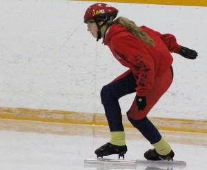 Sarah Ladik/NNSL photo Tory Blake rounds a corner during a drill at this season's first speed-skating workshop at the Don Stewart Recreation Centre last Saturday.