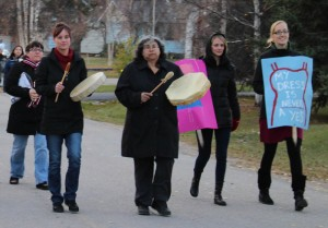 Sarah Ladik/NNSL photo More than 50 people, mostly women and children, turned out for the Take Back the Night march last Wednesday to support ending violence against women.