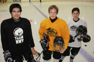 Hay River members of NWT boys' hockey team for the upcoming Canada Games Left to right: Tanner Mandeville Locklan Munro Dawson McMeekin Oct. 22, 2014 Hay River Photo by Paul Bickford Northern News Services Ltd.