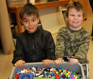 Lego Club at NWT Centennial Library William Colosimo, left, 7 Colbey Walters, right, 10Oct. 22, 2014 Hay River Photo by Paul Bickford Northern News Services Ltd.