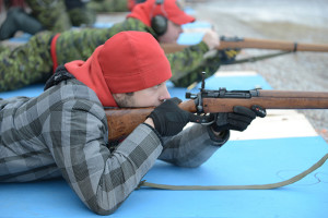 Canadian Ranger Matthew Storvold of Hay River Firing .303 Lee Enfield rifle Canadian Ranger shooting competition (Oct. 25 & 26) Oct. 25, 2014 Hay River Photo courtesy of Capt. Steve Watton