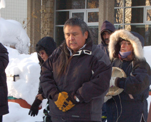 Angele Cano/NNSL photo Doug Lamalice says a prayer in Slavey at the Idle no more on Dec. 21, 2012.