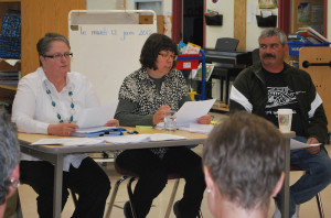 Kristen Campbell/NNSL photo School board superintendent Marie LeBlanc-Warick, CSFTNO President Suzette Montreuil and school board trustee Michael St. Amour were part of the panel that discussed the Supreme Court's rulings regarding the NWT's two french schools.