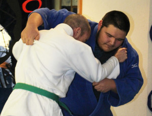 Sarah Ladik/NNSL photo Phil Beaupre, left, gets taken down by judoka Mason Bruneau during a training session last Friday.