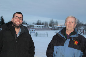 Sarah Ladik/NNSL photo Recreation director Ian Frankton, left, and Hay River Elks president Gary Hoffman are eager to see the new equipment for Tr-Service park installed once the snow melts.