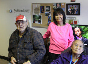 Sarah Ladik/NNSL photo Norman, left, Sharon, and Rosa Lafferty enjoy some family time at the long term care facility at the hospital in Hay River last Wednesday. Sharon Lafferty says separating her parents between two facilities is a cruel measure.