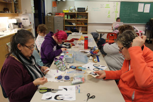Dorothy Buckley, left, organizes a weekly sewing circle at Princess Alexandra School.  Sarah Ladik NNSL