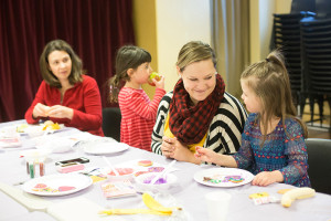 Jared Monkman?NNSL Photo Emily Taylor, left, Molly Taylor, Jody Halstead, and Annika Halstead finish up their cookie trays during a Healthy Families workshop last week.