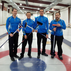Hay River curling team at tournament in Inuvik Left to right: Glenn Smith Jesse Duford Dan Richards Jared Monkman Territorial playdowns to represent NWT at the Travellers Curling Club Championship in Ottawa in November March 20, 2015 Inuvik Photo courtesy of Glenn Smith