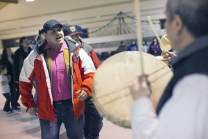 Jared Monkman/NNSL photo Brent Betsina, silver medalist for the NWT in judo at the latest Canada Winter Games leads the drum dance at K'amba Carnival.  March 6, 15 Hay River Reserve
