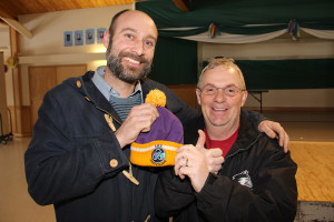 Hay River Mayor Andrew Cassidy, left Greg Rowe, right, chair of the South Slave bid committee for the 2018 Arctic Winter Games Celebrating awarding of games to South Slave March 18, 2015 Hay River Reserve Photo by Paul Bickford Norhern News Services Ltd.