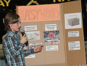 Hay River Dragons' Den Challenge Declan Munro Grade 6 student at Ecole Boreale Presenting his project Easy Wood Winner of $500 prize March 24, 2015 Hay River Photo by Paul Bickford Northern News Service Ltd.
