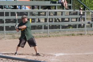 Scott Clouthier steps up to bat at a slo-pitch game at the Pine Point Ball Diamond June 18. Sarah Ladik NNSL