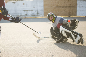 Jared Monkman/NNSL photo Scott Bolt makes a save during a game of ball hockey at the 553 rink. May 7, 2015