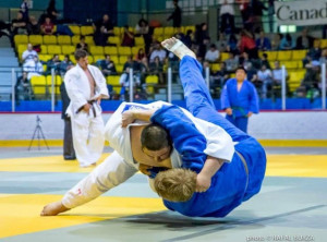Photo courtesy of Phil Beaupre Mason Bruneau, left, takes down an opponent at the Canadian Judi Championships in Montreal, where he placed third in the U21 division and fourth in the senior division.