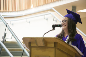 Jared Monkman/NNSL photo Elycia Nimegeers gives the valedictorian speech, congratulating her classmates and thanking friends, family, and teachers for seeing them through.  June 25, 2015 DJSS
