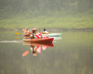 Jared Monkman/NNSL photo Myrtle Graham takes part in a group kayak trip on Canada Day.
