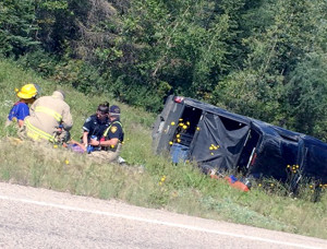 Rollover accident scene on road to Hay River Reserve Lone occupant not injured Aug. 5, 2015 Hay River Reserve Photo courtesy of Ashlee Cail