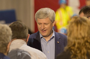 Prime Minister Stephen Harper Shaking hands with those at a campagin rally August 14, 2015 Hay River Jared Monkman/NNSL photo