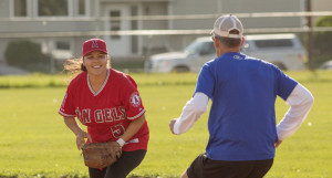 Jared Monkman/NNSL photo Delaney Poitras, left, Jeff boyce.  Jeff Runs for second base.