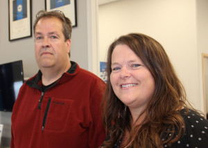 Tom Colosimo, left, South Slave regional superintendent with the Department of Industry, Tourism and Investment Donna Lee Jungkind, right, deputy mayor of Hay River