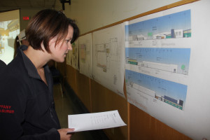 Tiffany Demarcke Looks over drawings of proposed renovations to Don Stewart Recreation Centre Public information session