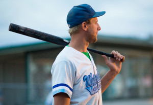 Jared Monkman/NNSL photo Brad Harrison waits for the pitch at the final game of the softball season. Pine Point Ballfield August 27, 2015