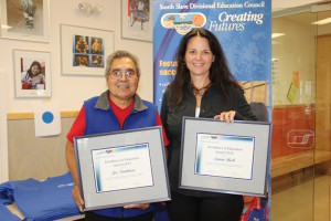 Winners of Excellence in Education Award 2015 from the South Slave Divisional Education Council Joe Tambour, left, drummer and elder from K'atlodeeche First Nation on the Hay River Reserve Lynne Beck, right, vice-principal and guidance counsellor at Diamond Jenness Secondary School Sept. 1, 2015 Hay RIver Photo by Paul Bickford Northern News Services Ltd.