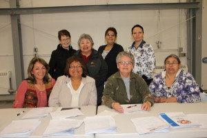 New executive and other board members of Soaring Eagle Friendship Centre Front row, left to right: Abbie Crook, vice president Margaret Jerome, president Beatrice Lepine, treasurer/finance Sharon Pekok, secretary Back row, left to right: Ann Firth-Jones, board member JuliaTrennert, elder representative Sharon Caudron Tamara Fabian At annual general meeting Sept. 26, 2015 Hay River Photo by Paul Bickford Northern News Services Ltd.
