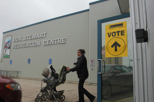 Ramona Kelly leaves the Don Stewart Recreation Centre after voting in the municipal election and plebiscite Oct. 19.