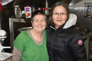 Laura Rose, left, president of the Hay River Soup Kitchen Dorothy Jones, who donated winnings of a shopping spree to the local charity November 2015 Hay River Photo by Diana Yeager Northern News Services Ltd.