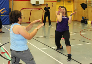 Amanda Grobbecker of Yellowknife Leading adult class in her Dance Play workout November 2015 Hay River Photo by Paul Bickford Northern News Services Ltd.