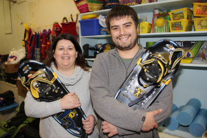 Dale Loutit, left, recreation programmer, Town of Hay River Craig Edwards, right, program librarian, NWT Centennial Library Holding snowshoes Nov. 20, 2015 Hay River Photo by Paul Bickford Northern News Services Ltd.