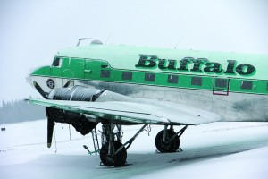 The Buffalo Airways aircraft that usually flies between Hay River and Yellowknife sits idle at the airport in Hay River on Dec. 4.