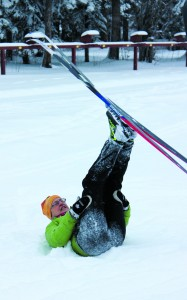 Karen Johnson, the co-ordinator with Ski North, demonstrates a fun activity during a coaching clinic over the weekend at the Hay River Ski Club.