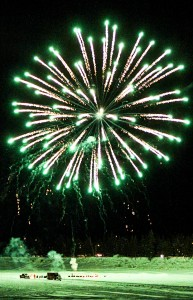 New Year's Eve fireworks on Hay River Green fireworks turn the snow and ice green Dec. 31, 2015 Hay River Photo by Paul Bickford Northern News Services Ltd.