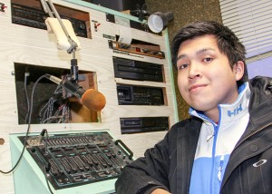 Kyle Camsell is the volunteer station manager of CKHR, the community radio station in Hay River.