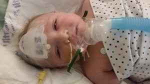 Deagan Clavette, seven months old in Stollery Children's Hospital, is suffering from severe allergies.