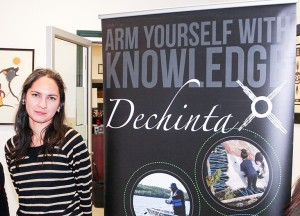 Paul Bickford/NNSL photo Mandee McDonald, the program manager with the Dechinta Centre for Research and Learning, visited four communities last week to spread the word about Dechinta Bush University.