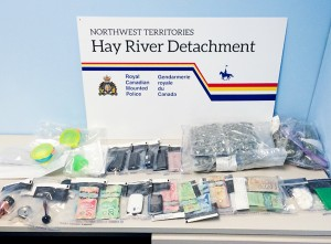 1002dru!_new Crack cocaine, marijuana, cash and drug paraphernalia Seized from two residences in Hay River on Feb. 3, 2016 February, 2016 Hay River Photo courtesy of the RCMP