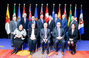 photo courtesy of Transport Canada Hay River South MLA Wally Schumann, back row, right, made his debut on the national political stage as a GNWT cabinet minister in Ottawa on Jan. 28. The occasion was a meeting of federal, provincial and territorial ministers responsible for transportation and highway safety. The ministers at the meeting were, front row, left to right, Monica Ell (Nunavut), Paula Biggar (P.E.I.), federal Transport Minister Marc Garneau, Steven Del Duca (Ontario), and Nancy Heppner (Saskatchewan). In the back row, from left, are Scott Kent (Yukon), Steve Ashton (Manitoba), Brian Mason (Alberta), Geoff MacLellan (Nova Scotia), Roger Melanson (New Brunswick), Todd Stone (British Columbia), Al Hawkins (Newfoundland and Labrador) and Schumann.