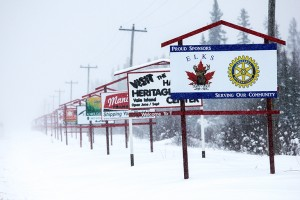 Shane Magee/NNSL photo These signs have been sold as part a shift in how the Hay River Chamber of Commerce brings in money to operate. The signs along Highway 2 on the way into town were sold to promote area businesses and will bring in annual revenue for the chamber.