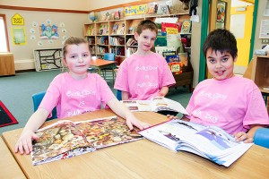 Paul Bickford/NNSL photo Pink Shirt Day – also known as Anti-Bullying Day – was observed at Harry Camsell School and other schools across Canada on Feb. 24. At Harry Camsell School, the students – including, left to right, Rylee Robillard, Caleb Swan and William Colosimo – were, of course, wearing pink shirts.