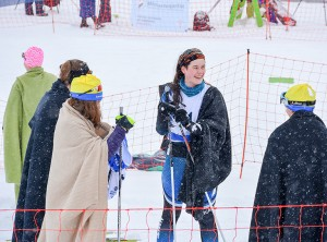 AWG photo Hay River's Elli Rose Cunningham relaxes after her 5 km individual juvenile biathlon even.