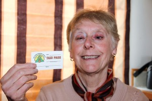 Paul Bickford/NNSL photo Marilyn Green, who is visually impaired, holds one of the new taxi passes from the Hay River Seniors' Society. The passes are to help members get to the organization's activities.
