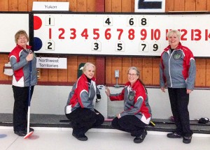 photo courtesy of Janie Hobart The NWT women's team at the 2016 Canadian Masters Curling Championship stand in front of the scoreboard following their victory over the Yukon. The team consisted of, left to right, Davida Delorey of Hay River, Doreen Scheller of Hay River, Cheryl Hval of Fort Smith and Janie Hobart of Fort Smith.