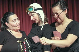 photo courtesy of Ben Nind Three actresses – left to right, Ria Coleman, Natalie Labossiere and Tiffany Ayalik – perform in Sisters of the North.
