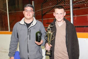 Paul Bickford/NNSL photo Hay River Minor Hockey handed out a number of awards at its end-of-season dinner on April 27. Among the winners were Scott Belanger, left, recipient of the Keith Broadhead Award for the midget division, and Nick Buth, winner of the Matthew Taylor Award.