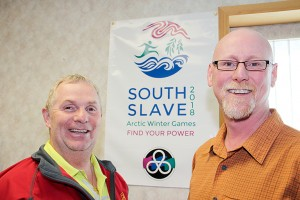 Paul Bickford/NNSL photo Greg Rowe, left, is president of the 2018 South Slave Arctic Winter Games Host Society, while Todd Shafer, right, is general manager for the games.